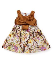 Happy Face Sleeveless Dress Floral Detail - Brown