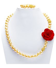D'chica Spring Beaded & Flower Jewelry Set - Multicolour