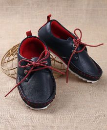 Tuskey Moccasin Shoes Lace Tie Up - Navy Red