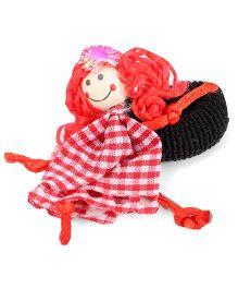 Sugarcart Checks Doll Scrunchie - Red & White