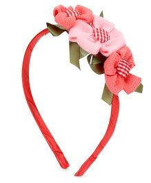 Sugarcart Stitched Cotton Flower Lace Hair Band - Coral