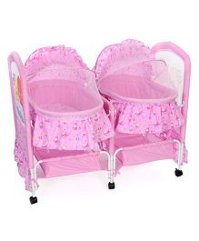 Double Swing Cradle Bear & Floral Print - Pink