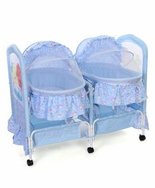 Double Swing Cradle Bear & Floral Print - Blue