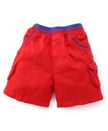 Babyhug Woven Elasticated Shorts With Pockets - Red