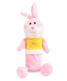 Bunny Shape Plush Pencil Pouch - Pink & Yellow