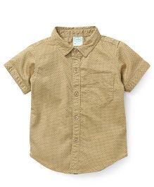 Babyhug Half Sleeves Shirt With All Over Dots Print - Beige
