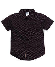 Babyhug Half Sleeves Shirt With All Over Dots Print - Chocolate Brown