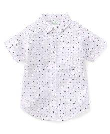 Babyhug Half Sleeves Shirt Anchor Print - White