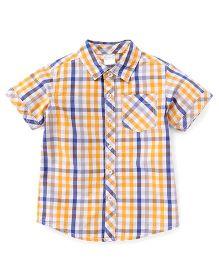 Babyhug Half Sleeves Checks Shirt - Yellow Blue