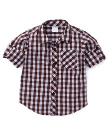 Babyhug Full Sleeves Checks Shirt - Brown & White