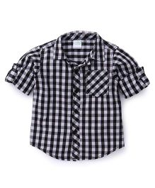 Babyhug Full Sleeves Checks Shirt - Black & White