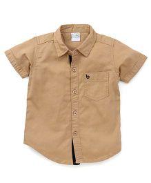 Babyhug Half Sleeves Solid Color Shirt - Beige