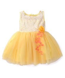 Katibi Sleeveless Party Wear Frock With Floral Applique - Yellow