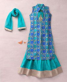 Enfance Collared Kurta Lehnga & Dupatta With Golden Patch - Blue