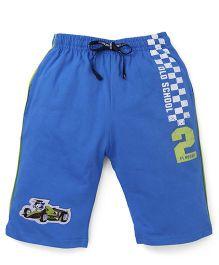 Ollypop Capri Three Fourth Pant With Car Print - Royal Blue