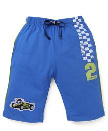 Ollypop Capri Three Fourth Pant With Car Print - Royal Blue