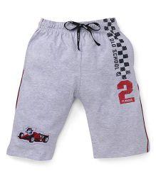 Ollypop Capri Three Fourth Pant With Car Print - Grey