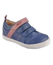 Beanz Genuine Leather Triple Velcro Shoe - Denim Blue