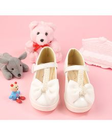 Walktrendy By Walkinlifestyle Mary Jane Shoe Pearl Satin Bow Design - White