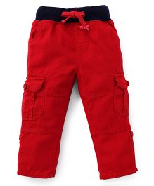 Kiddopanti Pull Up Cargo Pants With Ribbed Waist - Red