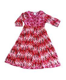 Kiddopanti Three Fourth Sleeves Anarkali Kurta - Pink