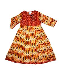 Kiddopanti Three Fourth Sleeves Anarkali Kurta - Orange