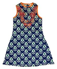 Kiddopanti Sleeveless Printed Kurti - Blue