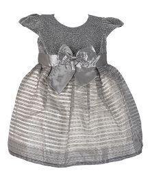 Kiwi Cap Sleeves Glitter Top Party Dress - Grey