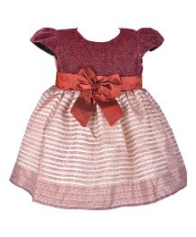 Kiwi Cap Sleeves Glitter Top Party Dress - Maroon