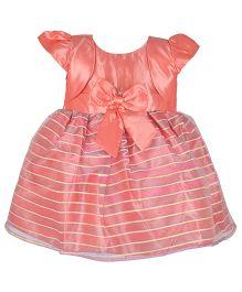Kiwi Cap Sleeves Shrug Style Dress With Bow - Peach