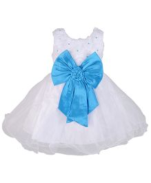 Kiwi Sleeveless Dress With Pearls And Bow - White & Blue