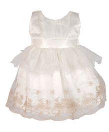 Kiwi Sleeveless Dress With Golden Embroidery - White