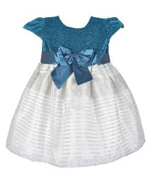 Kiwi Cap Sleeves Glitter Top Party Dress - Blue
