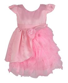 Kiwi Cap Sleeves Party Frock Flower Applique - Pink