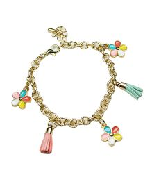 Asthetika Floral & Tassel Attached Chain Bracelet - Multicolour