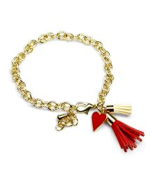 Asthetika Fringe & Heart Shape Tassle Attached Bracelet - Red