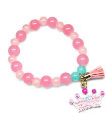 Asthetika Crown & Tassel Multicolor Pearl Bracelet - Pink