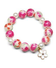 Asthetika Floral Tassel Multicolor Pearl Bracelet - Pink
