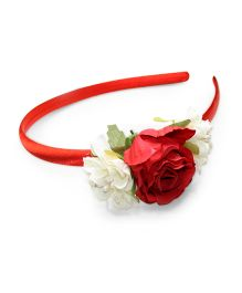 Asthetika Multi Rose & Leaf Attached Hairband - Red