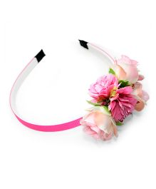 Asthetika Multi Floral & Leaf Attached Hairband - Pink