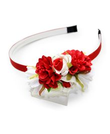 Asthetika Multi Floral & Leaf Attached Hairband - Red