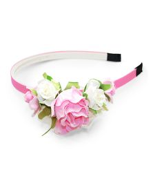 Asthetika Multi Rose & Leaf Attached Hairband - Pink