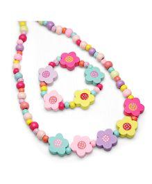 Asthetika Polka Dots Floral Bracelet & Necklace Combo - Multicolour