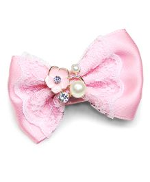 Asthetika Bow With Lace And Pearl Attached Hair Clip - Pink
