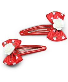 Asthetika Set Of 2 Flroal Mini Bow Tic Tak Hair Pin - Red