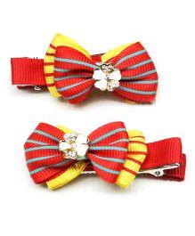 Asthetika Set Of 2 Mini Bow Alligator Hair Clip - Red