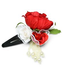 Asthetika Multicolor Flower & Pearl Bead Tassels Attached Tic Tak Hair Clip - Red