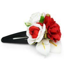 Asthetika Polen & Multi Colour Flower Tic Tak Hair Clip - Red