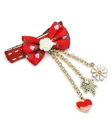 Asthetika Floral Printed Bow With Multi Tassel Attached Hair Pin - Red