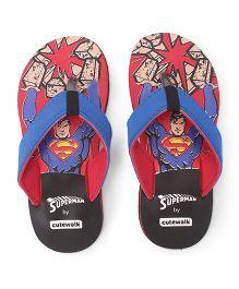 Superman by Cute walk Flip Flops - Black